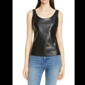 Theory SL Scoop Shell Black Faux Leather Top (NWT)